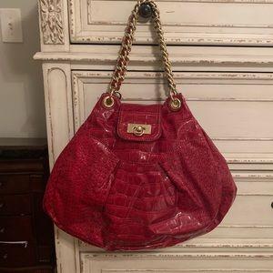 Red faux alligator skin purse
